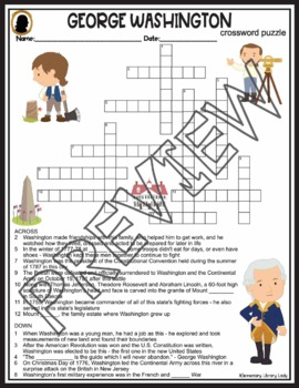 George Washington Activities Crossword Puzzle and Word Search Find