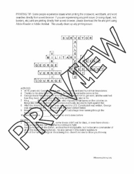 George Washington Crossword and Word Search Find Activities Brad Meltzer Book