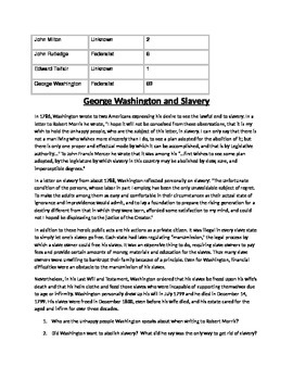 George Washington: Election of 1789 and views on slavery