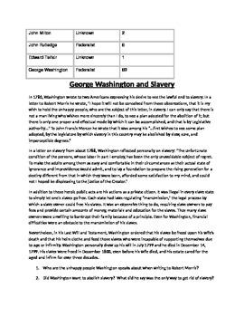 George Washington: Election of 1789 and views on slavery