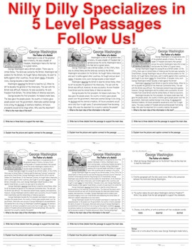 George Washington FACTS Close Read 5 Levels Fluency Main Idea ALL-On-One Sheet