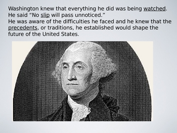 George Washington First President Notes Lesson Plan PowerPoint