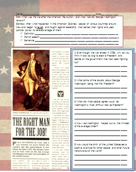 George Washington - First President and Effects of the American Revolution