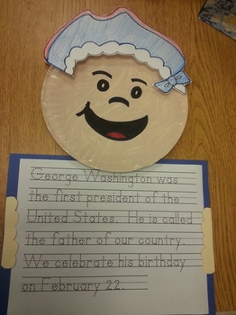 George Washington Hat and Paper Plate Pattern with Writing Activity