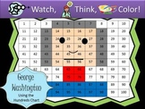George Washington Hundreds Chart Fun - Watch, Think, Color