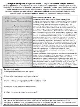 George Washington Inaugural Address American Speeches Document Analysis Activity