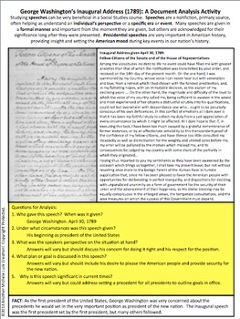George Washington Inaugural Address American Speeches Document Analysis Activity