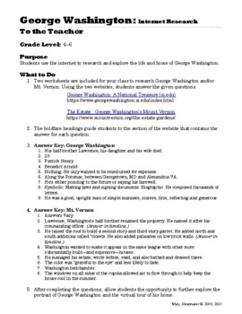 George Washington: Internet Research