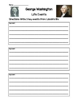 George Washington- Key Life Events Worksheet