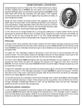 photograph relating to George Washington Printable Worksheets named George Washington Existence and Energy: Looking at Knowledge Worksheet