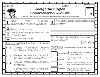 George Washington (Presidents Day) 1st Grade