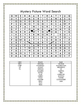 George Washington Mystery Picture Word Search