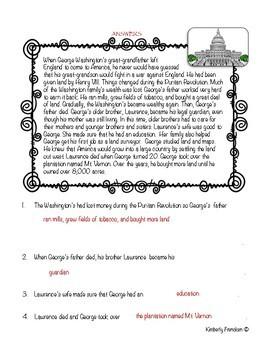 George Washington Nonfiction Passages & Letter Writing