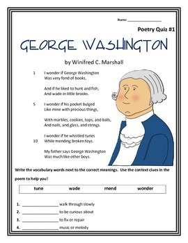 President's Day: George Washington- Poem and Quiz