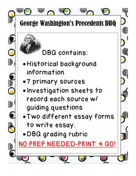 George Washington Precedents DBQ