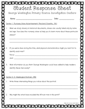George Washington Primary Source Centers for Grades 5 and 6