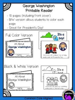 George Washington Printable Reader for Kindergarten and First Grade