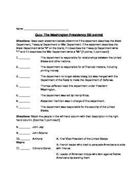 George Washington Quiz (with Study Guide and Answer Key)