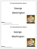 George Washington Reading Book for grades  3  - 6 - A book of interesting facts