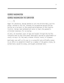 George Washington Reading Comprehension - FREEBIE