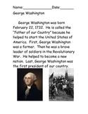 George Washington Reading Comprehension Packet