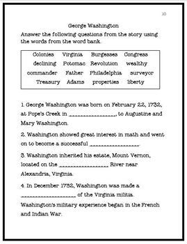 George Washington Reading Comprehension and Matching