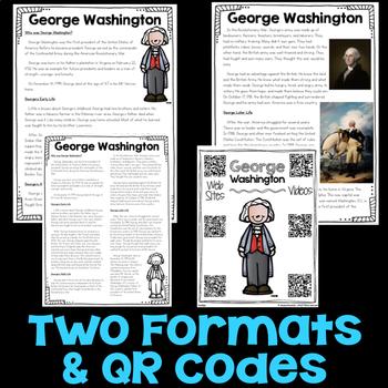 George Washington Reading Passage, Biography Report, & Comprehension Activities