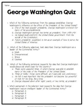 George Washington - Reading Passage, Assessment, & Craftivity