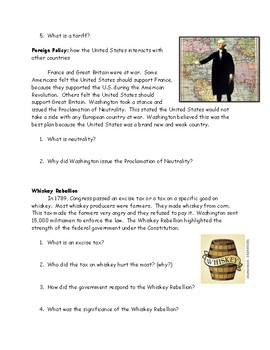 George Washington Reading with Questions, Vocabulary Chart and Answer Key