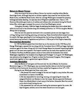 George Washington Review Article - Questions - Vocabulary worksheet