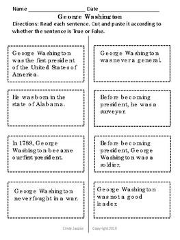 George Washington Social Studies and Language Arts Worksheets Presidents' Day
