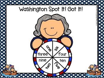George Washington Spot It!  Got It!  LOW PREP Number Word Fluency Game