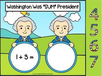 George Washington Themed Addition Activities For GOOGLE CLASSROOM