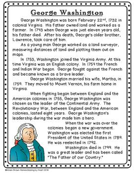 George Washington Biography and Timeline Activity