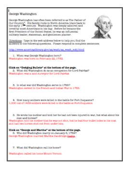 George Washington:  Web-Based Questions