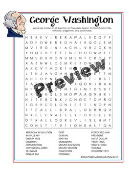 George Washington Word Search