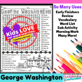 George Washington: Word Search: Presidents' Day Activity