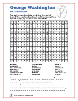 Presidents Word Search and Fill in the Blanks - George Washington