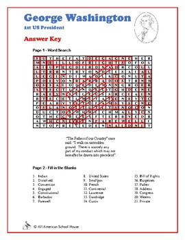 George Washington - Hidden Message Word Search and Fill in the Blanks