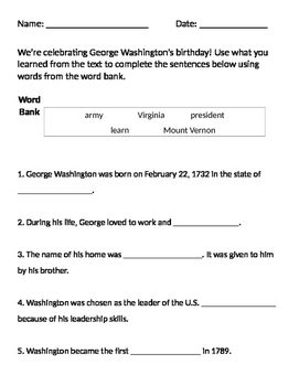 George Washington Worksheet - Presidents' Day