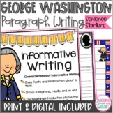 George Washington Writing Sentence Starters/Frames, Close Reading Response