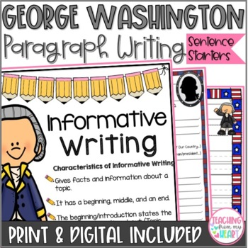 George Washington Writing Sentence Starters/Frames, Close Reading Response
