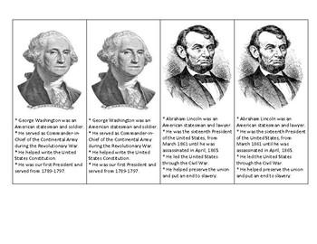 George Washington and Abraham Lincoln Informational Bookmark