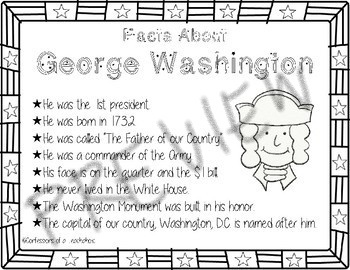 George Washington and Abraham Lincoln President's Day Anchor Charts