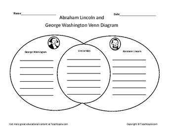 George Washington and Abraham Lincoln Venn Diagram Presidents Day