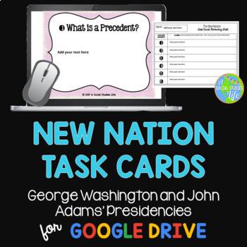 George Washington and John Adams Task Cards and Recording Sheet