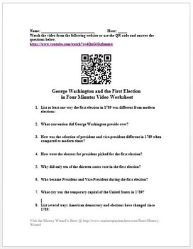 George Washington and the First Election in Four Minutes Video Worksheet