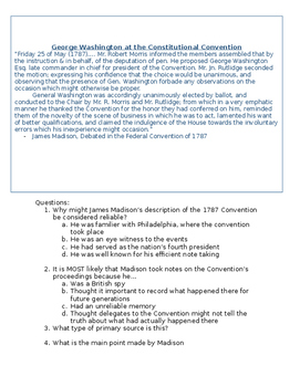 George Washington at the Constitution Convention- By Madison Worksheet