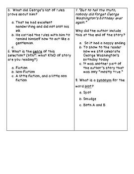 George Washington's Birthday Reading Comprehension Quiz