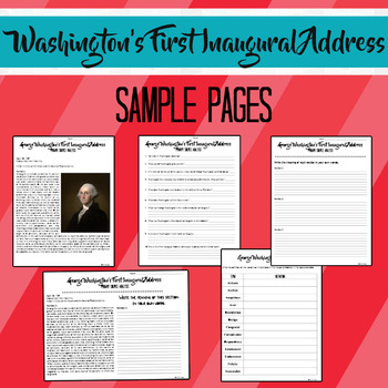 George Washington's First Inaugural Address Primary Source Activities